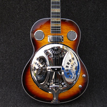 Giggle resonator jazz hollow body quilted maple top and back sunburst China Electric Bass Guitarras Free Shipping Guitare(China)