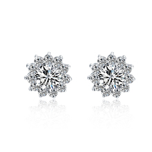Sunflowers Beautiful 1Ct/piece SONA Synthetic Diamonds Earrings for Women Top Quality 925 Silver Luxury Color Wedding Earrings