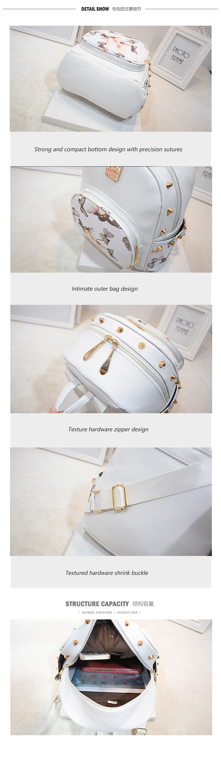19829552dc25 SWDF Fresh Style Women Backpacks Floral Print Bookbags PU Rivet ...