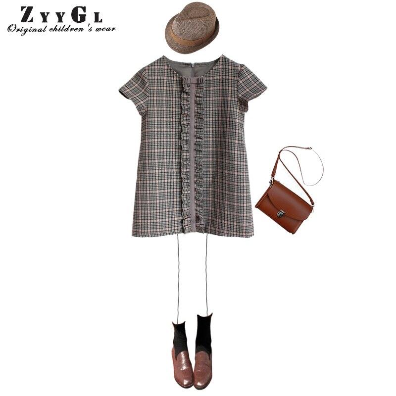 ZYYGL Girls Spring Dress 2018 New British Style Children Plaid Fur Dress Kids Clothes Dress Design For 2-10Y Baby Girls Dress<br>