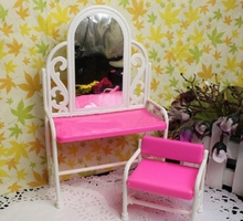 Miniature Doll Furniture Accessories Dresser Dressing Table with Chair For Barbie Doll House Toys for Baby Girls Play House Toy(China)