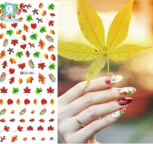 RU2PCS DS090 Nail Water Transfer Nails Art Sticker Sexy Colorful Maple Leaf Nail Wraps Sticker Manicura nail supplies Decal(China)