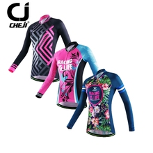 New CHEJI women's Long sleeve Cycling Jersey Bike Outdoor Sportswear breathable winter cycling clothing Bicycle Wear cheap Shirt