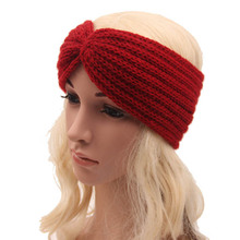 New Arrival Red Korean Women Winter Warm Braided Knit Wool Headband Hair Bands Bohemia High Quality
