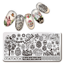 1Pc 12*6cm Rectangle Stamping Plate Happy Easter Pattern Manicure Nail Art Plate Harunouta L033 Manicure Stamping Template
