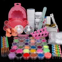 Full Set Acrylic Powder UV Gel Primer Glitter Nail Art Tip Brush File Dust Kits