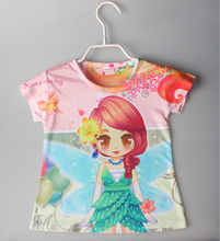 2016 girl's t shirts t girls kid's girl's shirt children top tee 3D printing shirt child cartoon printing t shirts for 2-6yrs