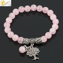 Buy CSJA Reiki Pink Quartz Diffuser Bracelet Natural Crystal Gem Stone Mala Beads Tree Life Charms Meditation Ethnic Jewelry E723 for $2.47 in AliExpress store