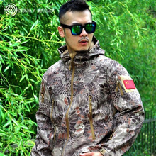 David Shark Leather Soft Shell V4 Military Tactical Jacket Men's Waterproof Windproof Warm Jacket Camouflage Hooded Camouflage(China)