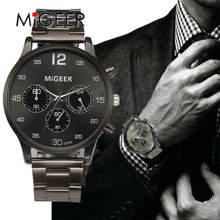 MIGEER New Men Watch Luxury Brand Men's Crystal Stainless Steel Fashion Quartz-Watch 2017 Casual Male Sports Wristwatch Clocks