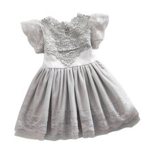 Summer Toddler Girls Dress Baby Kids Lace Tulle Dresses Floral Princess Tutu Dress 2-7Y