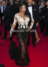 Sexy See Through Red Carpet Dress Mermaid Two Color Celebrity Dress With Black And White Appliqued EN155