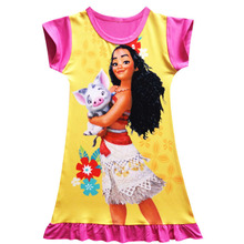 Cartoon Moana Dresses for Girls Robe Princesse Vaiana Pajamas Cool Summer Beach Wear Little Kids Children Birthday Party Costume