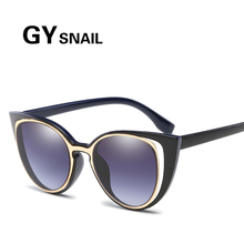 GYSnail Fashion Hot Sale Mirror Flat Lens Cat Eye Sunglasses Women Brand Designer Sunglasses Classic Shades lively UV400(China)