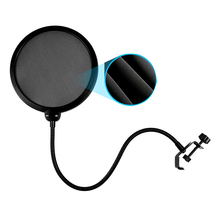 Flexible Microphone Pop Filter Windscreen Dual Layer Mask Shield Mic For Podcast Singing Record Microfone Gooseneck Wind Cover