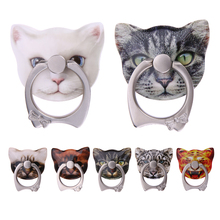 ALLOYSEED Cute Kitten Shape 360 Roating Finger Ring Mobile Phone Stand Holder for iPhone Samsung Huawei Xiaomi All Smart Phones(China)