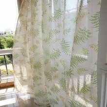 (2.4m*1.35m) Finished pastoral window voile tulle chiffon sheer curtains for living room curtain for living(China)