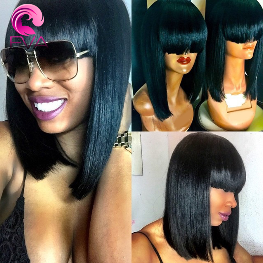 8A Full Lace Human Hair Wigs Bob Wigs With Bangs Brazilian Virgin Hair Lace Front Wigs With Baby Hair Short Bot Cutting Wigs <br><br>Aliexpress