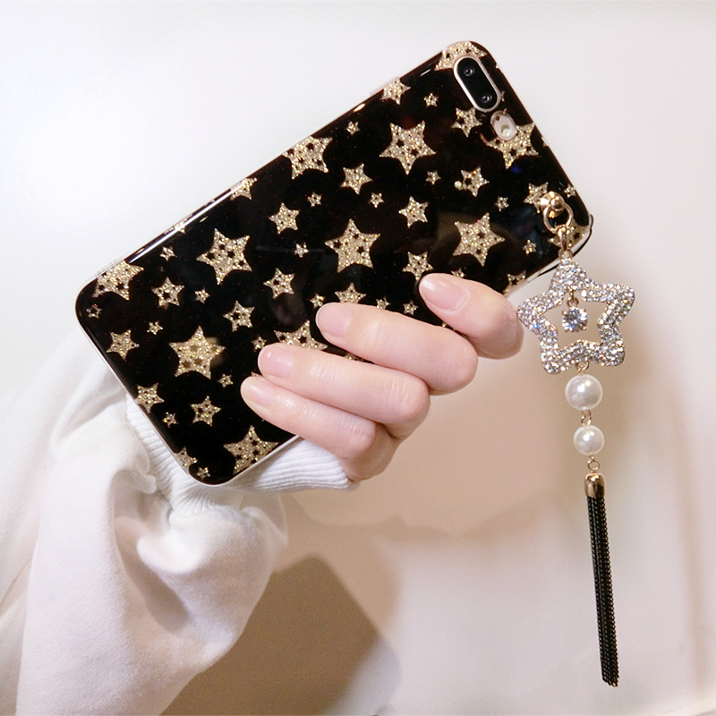 Hot-Sale-Shiny-Flash-Powder-Stars-Tassel-Pendant-Case-For-IPhone-X-8P-7-7Plus-6