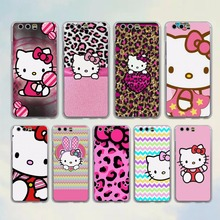 Pink Hello kitty cat style clear Mobile phone Case cover for Huawei P10 P9 Lite P10 Plus P8 Ascend G7 G8 Mate 9(China)