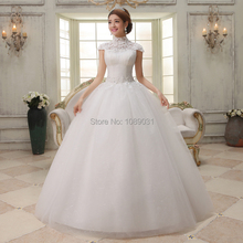Brand New Wedding Dresses with Appliques Elegant Ball Gown Cap Sleeve High Neck Keyhole Back White/Ivory Formal Bridal Gown