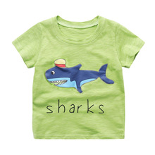 Retail Baby Boys Cotton T-shirts Summer New Brands Kids O-neck Cartoon Shorts Tops Letter Children Clothing Casual Pullover Tees