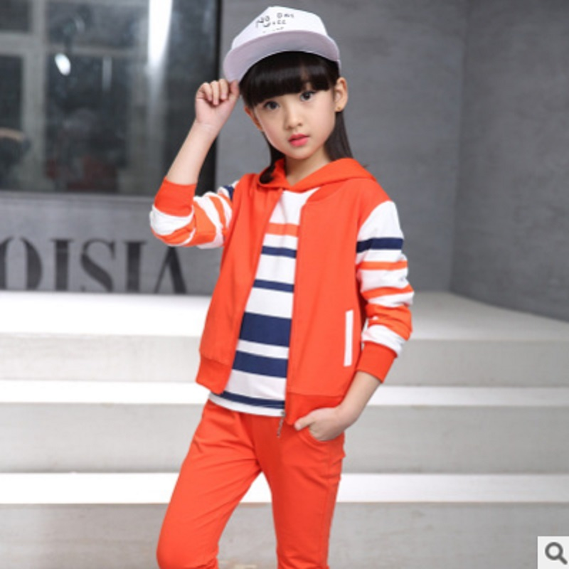 Childrens Sports Clothig Sets New 2017 Spring and Autumn Kids Clothes Sets Three Piece Girls Striped 3 Colors Size6-14 ly475<br>