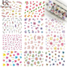 New Fashion 1 Sheet Nail Stickers Beautiful Flowers Nail Decals DIY 3D Nail Art Stickers Manicure Decals E358-368