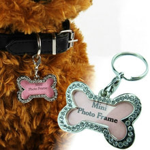 Pet Identification Tag  Metal Diamante  Bone Type Tag Pendant For Pet Dog Cat