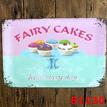 Wall art painting Metal tin signs Kitchen Vintage plaques Fairy cakes food house bar coffee decoration 20*30 cm