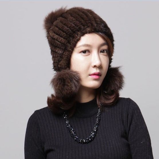 Mink Lady Fur Hat Fox Hair Ball Ball Mink Knitted Knitted Hat Ear Ear Cap Fox Ear Cap<br>