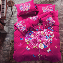 Pink Bedding Sets Queen/King Size Thick Soft Winter Sanding Cotton Bedlinens Floral Garland Pattern Printed Duvet Cover Set