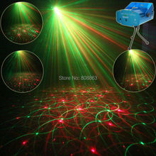Mini R&G Laser 4 Patterns projector Club Bar Dance Disco Coffee Shop Home Party Xmas DJ Effect Lighting Light Show Y4 + Tripod(China)