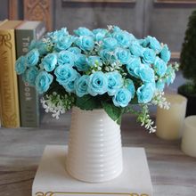 Pretty Charming Wedding Decoration 15 Buds 1 Bouquet Mini Rose Artificial Silk Flower Bride Bridal Home Decal Free Shipping
