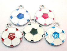 wholesales DIY Accessories 20x20mm mix color zinc alloy 50pcs Football Hang Pendant Charm Fit Diy Phone Strips freeshipping