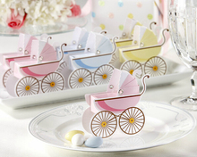 100 Pcs New Arrival baby wheelbarrow shape Carriage Candy Box Wedding Favor Kids Baby Birthday Party Gift Box Supplies