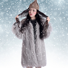 Fall winter faux fur coat jacket for women , grey pink color womens artificial fur coats and jackets outerwear furry outfit