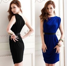Summer Fashion Women Elegant Dress For Women One Shoulder Catch Wrinkle Slim Lady Club Dress OL Office Wear Summer/Autumn Dress