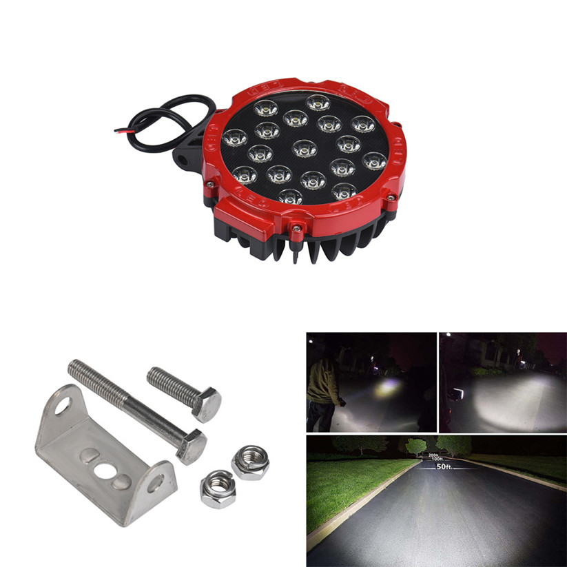 car-styling 51W 7Inches Red Spot Round Led Work Light Off Road Fog For SUV Boat Jeep Lamp fe22<br><br>Aliexpress