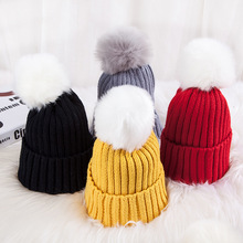 High Quality Ball Top Thick Children Caps Thermal Knitting Hat Cute Candy Color Winter Wool Baby Hats Warm Autumn For Boys Girls(China)