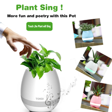 New Smart LED Bluetooth Music Vase Speaker Plant Touch Sensing Flower Pot USB Waterproof Colorful Night Light Touch Piano lamp(China)