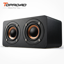 TOPROAD Portable Bluetooth Speaker Wireless 4.0 Dual Bass Stereo Speakers Outdoor Wooden Sound Box With FM Radio for Phone PC(China)