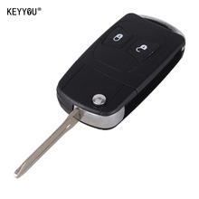 KEYYOU Uncut Modify Flip Folding remote Key Shell case fit For Chrysler 300C PT CRUISER For Jeep Dodge 2 Big Button