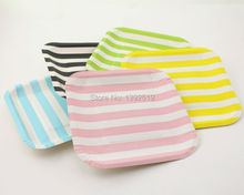 Free Ship 600pcs Striped Polka Dot Chevron Paper Plates for Valentine Birthday Wedding Nursery Party Tableware Party Supplies