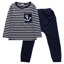 2Pc Kids Boys Long Sleeve Cotton T-shirt Tops Pants Trouser Outfit Clothes Set Navy wind stripe Fashion Boy's  Set