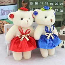 Lovely Teddy Bear Plush Toys Small Diamond Floral Bear in Dress Dolls Pendants DIY Bouquet Wedding Party Decor 13cm 12pcs/lot(China)