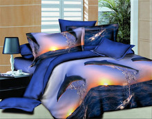 Dolphin Bay Bed linen quilt bedding textile trade bedline family of four bed set 3D four sets of textile(China)