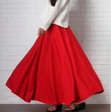 2017 New preppy style cotton linen long skirts, plus size brand good quality vintage casual skirts,England style long skirts