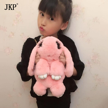 100% Rabbit Fur bags Winter Girls Children Shoulder Bag Real Fur Women Lovely Bunny Bag Gift hat(China)