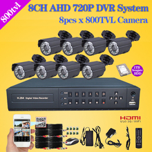 Home 800TVL CCTV Security outdoor Camera System 8 channel AHD 1080N HDMI WIFI DVR video Surveillance complete kit with 1TB HDD